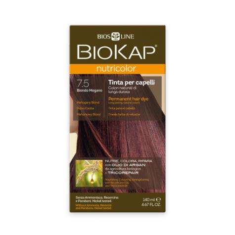 Краска для волос BioKap Nutricolor махагон (коричневато-красный) тон 7.5, 140мл