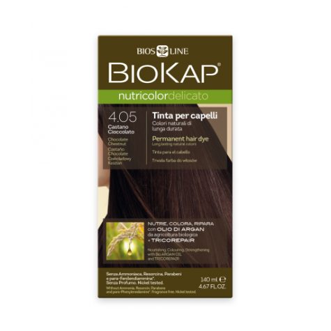 Краска для волос BioKap Delicato шоколадный каштан тон 4.05, 140мл