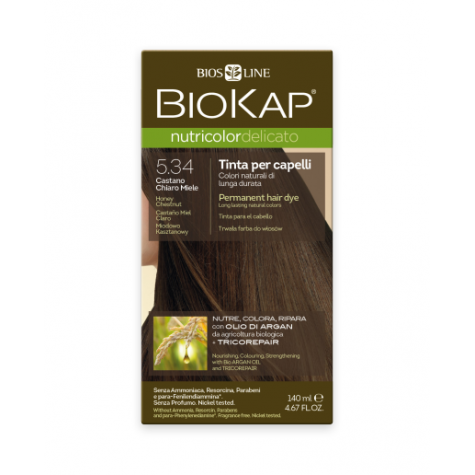 Краска для волос BioKap Delicato медово-каштановый тон 5.34, 140мл