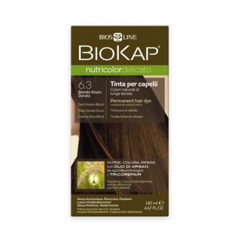 Краска для волос BioKap Delicato тёмно-русый золотистый тон 6.3, 140мл